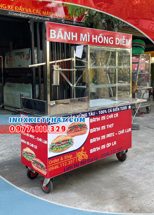 Xe bán bánh mì cả cá 1m4